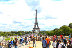 Tourists enjoy at Eiffel Tower - Paris Royalty Free Stock Image
