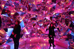 Tourists enjoy Light Origami at Vivid Sydney Royalty Free Stock Photography