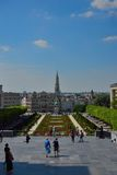 Tourists enjoy one of the rarest and most beautiful views in the city of Brussels Stock Images