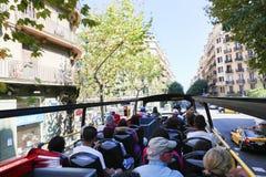 Tourists enjoy at open bus Stock Photo