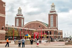 Tourists enjoy a summer day at famous Navy Pier park. Stock Images