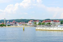 Sopot pier. Tourists enjoy the sunny weather and walking along the pier on 26 May 2018 in Sopot, Poland royalty free stock photo