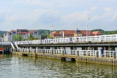 Sopot pier. Tourists enjoy the sunny weather and walking along the pier on 26 May 2018 in Sopot, Poland royalty free stock images