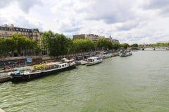 Tourists enjoy at Trip on the Seine river Stock Photos