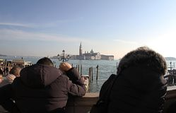 Church of San Giorgio Maggiore.Venice.Italy.2019. Tourists enjoy the view Church of San Giorgio Maggiore royalty free stock photo