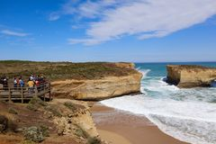 Tourists Enjoying Australia's Iconic Great Ocean Road in Sunshine stock photography