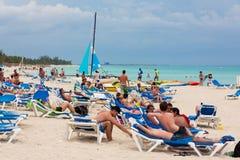 Tourists enjoying the beach at Cuba Royalty Free Stock Photography