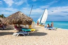 Tourists enjoying the beach of Varadero in Cuba Royalty Free Stock Photo