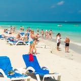 Tourists enjoying the beach at Varadero in Cuba Royalty Free Stock Photography