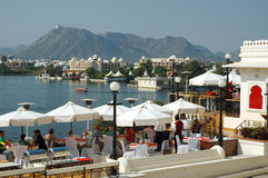 Tourists enjoying the beautiful view of Pichola lake,Udaipur,Rajastan,India Royalty Free Stock Images