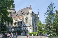 Tourists enjoying the beautiful weather visit Vajdahunjad Castle on August 9, 2015 in Budapest, Hungary. Royalty Free Stock Images