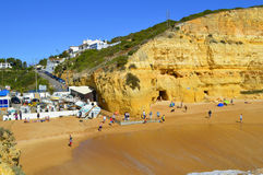 Tourists enjoying Benagil Beach in Portugal Stock Photography