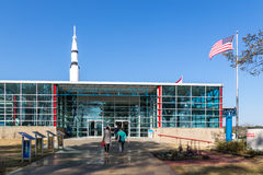 Tourists enjoying a  blue sky day at the Marshall Space Flight Center in Alabama. Marshall Space Flight Center, Alabama - April 12th 2014 - Tourists enjoying a Royalty Free Stock Photos