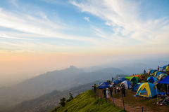 Tourists are enjoying cold weather at  Phu thap buek mountain in Stock Image