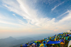 Tourists are enjoying cold weather at  Phu thap buek mountain in Stock Photography