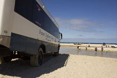 Tourists enjoying a freshwater creek. On Fraser Islandaser Island which is the World's largest sand island Stock Photography