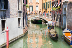 Tourists enjoying the gondolas in Venice, Italy Royalty Free Stock Photography