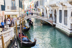 Tourists enjoying the gondolas in Venice, Italy Royalty Free Stock Photo