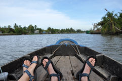 Tourists enjoying Mekong delta cruise with daily trip in a boat Stock Photography