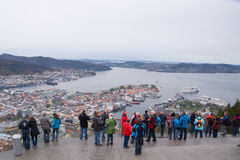 Tourists enjoying panorama view of Bergen, Norway Stock Photos