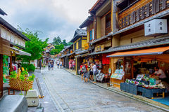 Tourists are enjoying on the Sannen-Zaka, Kyoto famous preserved street. Stock Images