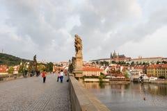 Tourists enjoying the scenic beauty of Prague city stock images