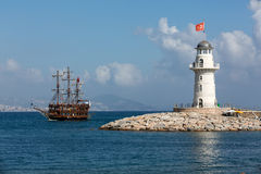 Tourists enjoying sea journey on vintage sailships  in Alanya Royalty Free Stock Photo