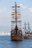 Tourists enjoying sea journey on vintage sailships  in Alanya, Royalty Free Stock Photo