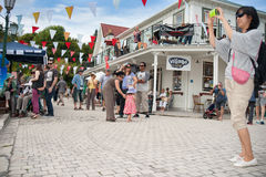 Tourists enjoying Tauranga Historic Village. Royalty Free Stock Photography
