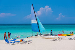 Tourists enjoying Varadero beach in Cuba Royalty Free Stock Photos