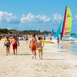 Tourists enjoying Varadero beach in Cuba Royalty Free Stock Images