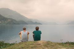 Tourists enjoying the view on Phewa lake, Pokhara, Nepal Royalty Free Stock Photography