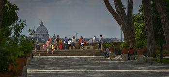 Tourists enjoying the view of rome Stock Photo