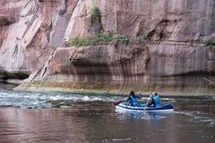 Tourists enjoying water sports, kayaking Stock Image