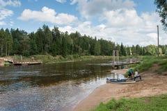 Tourists enjoying water sports, kayaking Stock Photo