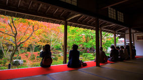 tourists in Enkoji temple at fall, Kyoto Stock Photos