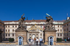Tourists enter the Prague Castle Stock Images