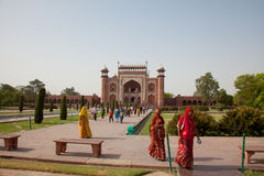 Tourists entering Great Gate to the Taj Mahal Stock Photos