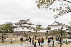 Tourists are entering Osaka Castle at the front Entrance. Stock Photos