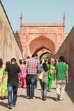 Tourists at entrance to Agra Fort, India Royalty Free Stock Photo