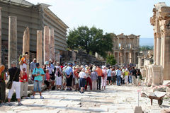 Tourists in ephesus Stock Photography