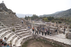 Tourists in the Ephesus theatre Royalty Free Stock Photos