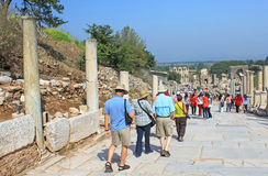 Tourists in Ephesus, Turkey Royalty Free Stock Photos