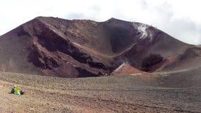 Tourists on Etna mountain Royalty Free Stock Image