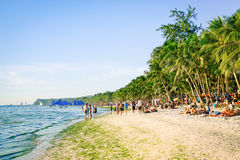 Tourists and everyday life at Boracay beach Stock Photo