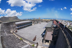 Tourists explore Fort Adelaide in Port Louis, Mauritius. Royalty Free Stock Photos