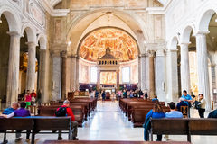 Tourists exploring the Church of San Pietro in Vincoli in Rome Royalty Free Stock Images