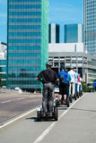 Tourists exploring Frankfurt with Segway Royalty Free Stock Image