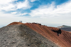 Tourists exploring Mount Etna in Sicily Royalty Free Stock Photos