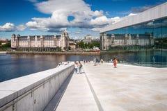 Tourists exploring Oslo Opera House, Norway royalty free stock photo